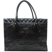 Black Cc Tote Handbag Quilted Calfskin Leather