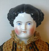 Antique Large German China Doll Black Hair Blue Eyes And Smile 21 1860s P1835
