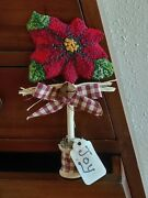 Primitive Punch Needle Red Poinsettia Shelf Sitter Tiered Tray Farmhouse Tuck