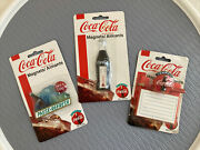 Lot Of 3 Vintage Coca Cola Magnets Memo Holder Thermometer Bottle Pause-refresh