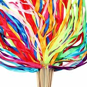 60 Pieces Ribbon Wands Mix Color Fairy Wands With Bells And Smooth Wood Sticks F
