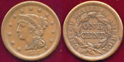 1857 1c Small Date Nice Color Braided Hair Large Cent ++