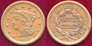 1857 1c Small Date Eye Appeal Braided Hair Large Cent++