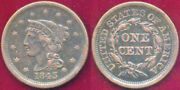 1843 1c Rare Mature Head-large Letters Braided Hair Large Cent++