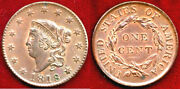 1818 1c Red And Brown Mint Luster Coronet Head Large Cent++