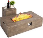 Propane Fire Pit Table 48 X 27 Inch With Side Table Tank Storage And Pits Cover