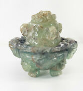 Antique Chinese Carved Green Fluorite Stone Censer Table Lamp Base