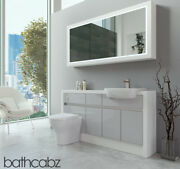 Bathroom Fitted Furniture Light Grey Gloss/white Matt 1500mm H2 With Wall Unit -