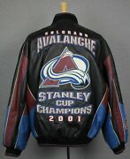 Colorado Avalanche Vtg 2001 Stanley Cup Champs G-iii Carl Bank Leather Jacket Xl