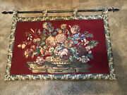 """Large Vintage Floral Tapestry Wall Hanging With Heavy Decorative Rod. 53"""" X 30"""""""