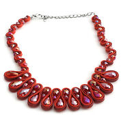 Beautiful Faceted Red Glass Silvertone Bib Necklace 16-20 In