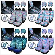 For U Designs Blue Fish Scale Car Seat Covers For Most Cars 10pc Sets For Women
