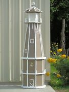 6 Foot Octagon Electric And Solar Powered Poly Wood Lighthouse Clay/white