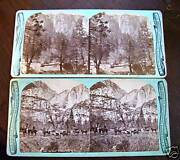 2 Early Photo Stereoview Card Chas Bierstadt Yosemite