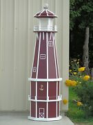 6and039 Octagon Electric And Solar Powered Poly Wood Lighthouse Cherry/white Trim