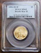 1991-1995-w 5 Gold World War Ii Pcgs Ms-69 Wwii