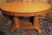 Antique Oval Oak Library Parlor Lamp Breakfast Table