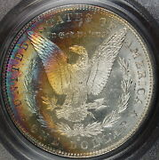 1881-s Morgan Silver Dollar Coin, Pcgs Ms-64 Cac, Crescent Toning Must See