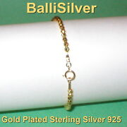 10 Pcs Vermeil Gold Plated Silver 3mm Laser Cut Bead Bracelets Made To Your Size