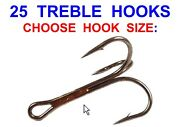25 Mustad Treble Hooks Game Coarse Sea Fishing Lures Rigs Pirks Spoons Spinners