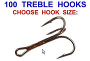 100 Mustad Treble Hooks Game Coarse Sea Fishing Lures Rigs Pirks Spoons Spinners