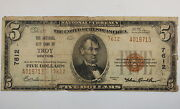 Series 1929 5 National Currency Note City Bank Troy Ny 7612