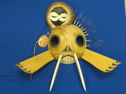 Monumental Tsonakwa Mask Carving Walrus And Hunter Signed 1988 Gallery Piece