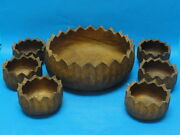 7 Pcs Superb Arts And Crafts Large Hand Caved Wood Bowl And Serving Bowls