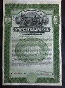 State Of California Bond 1927 Specimen Proof Xf Coupon Attached Pahv68