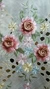 White 70 Round Embroidery Organza Tablecloth Polyester Handmade Daisy Floral