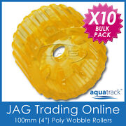 10 X 100mm 4 Solid Polyurethane Boat Trailer Non-marking Yellow Wobble Rollers