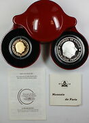 1988 France Charles De Gaulle 1 Franc Gold And Silver Proof Coin Set In Case Coa