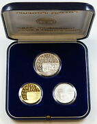1990 Israel 3 Coin Proof/bu Set Silver And Gold 42nd Anniversary Of Independence