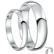 9ct White Gold D Shaped His And Hers 3and5mm / 4and6mm Light Weight Wedding Rings