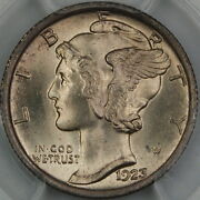 1923 Mercury Silver Dime, Pcgs Ms-66 Fb Full Bands Better Coin