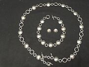 Rare B.c. Silver Ned Bowman Solid Sterling Belt, Necklace And Earrings Set 397g