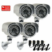 4 X Security Camera W/ 28 Ir Leds Night 3.6mm Wide Angle Lens And Power Supply Wwa