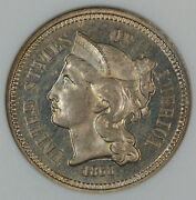 1868 3 Cent Nickel Proof Coin Anacs Pf-66 Cameo