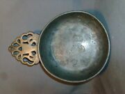 Early Antique Pewter Porringer 19th Century Hall Marked Touch Mark Ev 1800 Bowl