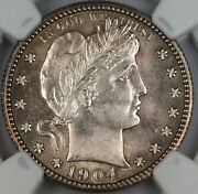 1904 Barber Silver Quarter 25c, Ngc Unc Details Obv. Scratched, Choice Bu Coin