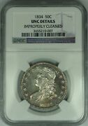 1834 Capped Bust Silver Half Dollar Ngc Unc Details Choice Bu Coin
