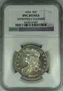1834 Capped Bust Silver Half Dollar, Ngc Unc Details, Choice Bu Coin