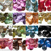Lot Of 25 Iridescent Mussel Shell 20mm Flat Round Coin Seashell Drop Charm Beads