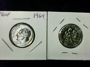 1964 Proof Silver Roosevelt Dime Single Coins Ships For Free In Usa
