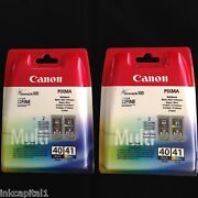 Canon Pg-40 And Cl-41 2 Packs Black And Colour Original Oem Inkjet Cartridges