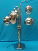 Vintage 60and039s Space Age / Atomic Era 60and039s Chrome Pendant Table Lamp 30