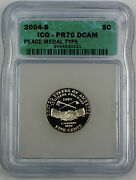2004-s Proof Jefferson Nickel 5c, Icg Pr-70 Dcam, Perfect Coin, Peace Medal