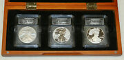 2006 Silver Eagle 3 Coin Set Icg 69 Bu / Proof / Reverse Proof 20th Anniversary