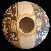 Collectible Hopi Pottery By Stella Huma, Hand Coiled, Disk-shaped, 4 X 9.5