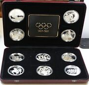 1996 Olympic Centennial 10 Piece Coin Set-sterling Silver-5 Countries Case Flaw
